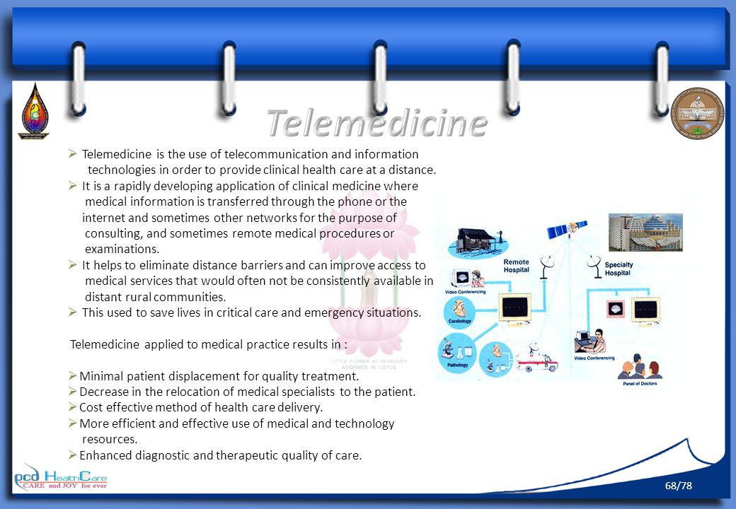 Telemedicine Telemedicine is the use of telecommunication and information. technologies in order to provide clinical health care at a distance.