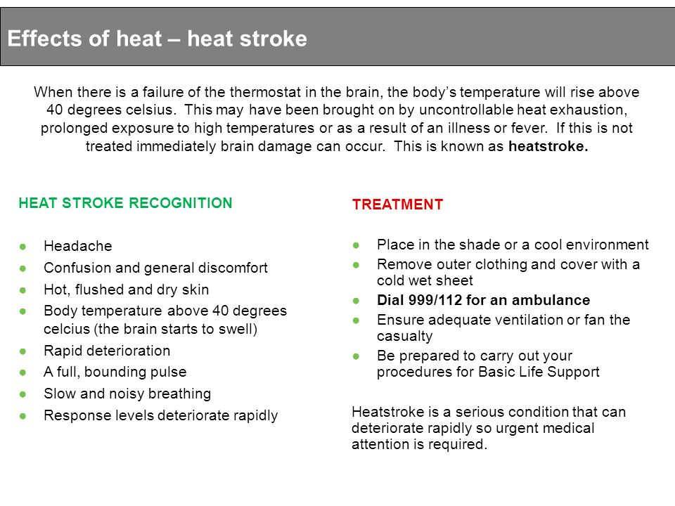 Effects of heat – heat stroke