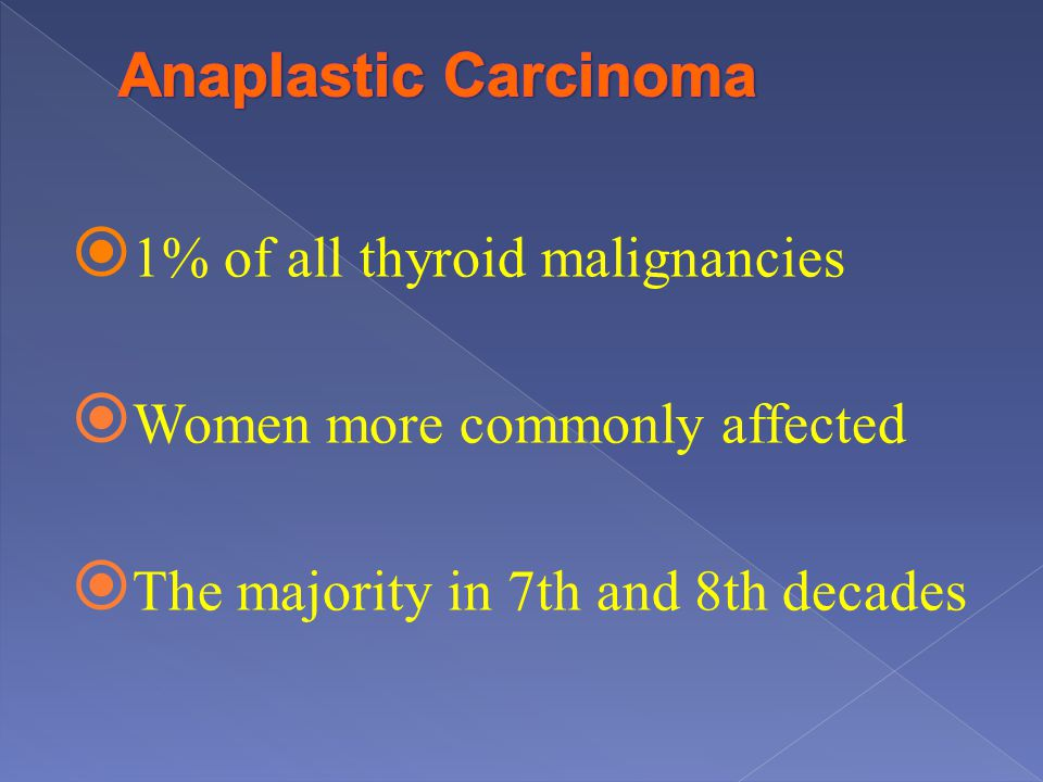 Anaplastic Carcinoma 1% of all thyroid malignancies