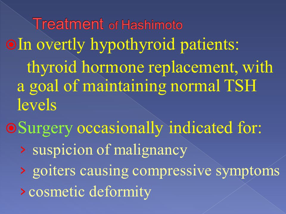 Treatment of Hashimoto