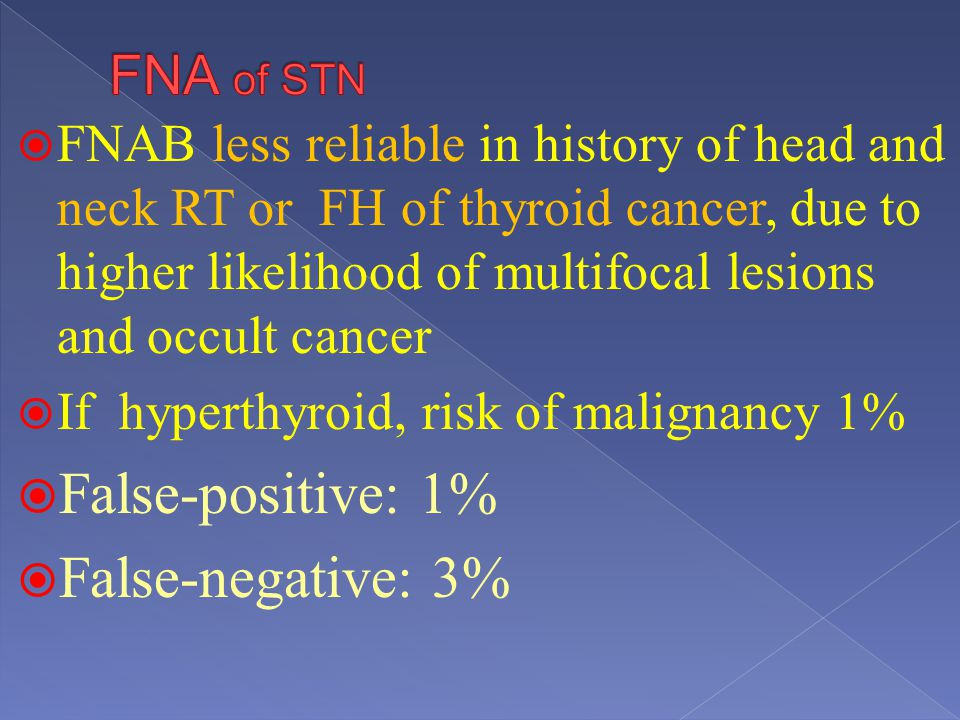 False-positive: 1% False-negative: 3% FNA of STN