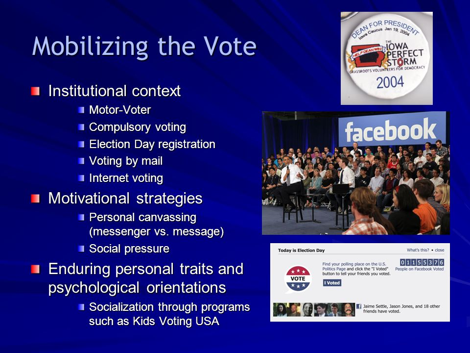 Mobilizing the Vote Institutional context Motivational strategies