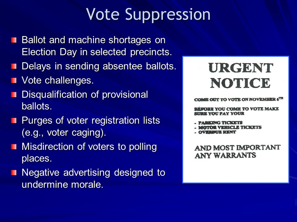 Vote Suppression Ballot and machine shortages on Election Day in selected precincts. Delays in sending absentee ballots.