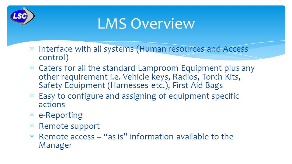 LMS Overview Interface with all systems (Human resources and Access control)