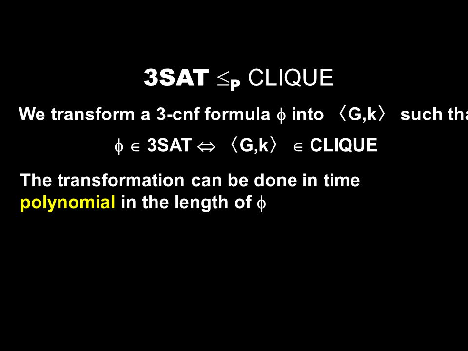 3SAT P CLIQUE We transform a 3-cnf formula  into 〈G,k〉 such that