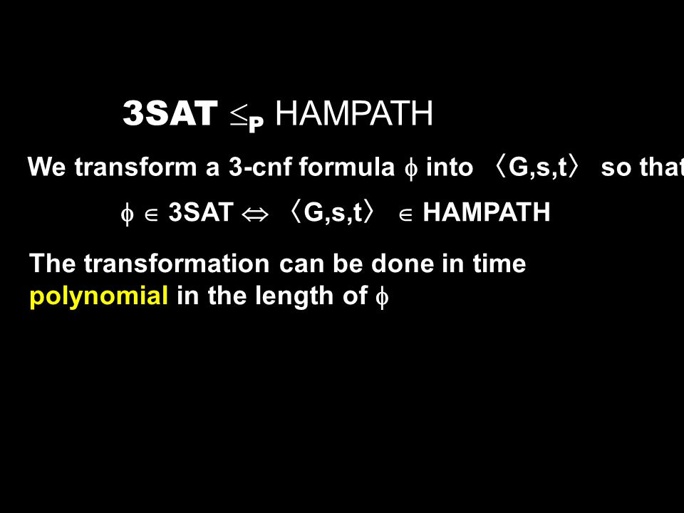 3SAT P HAMPATH We transform a 3-cnf formula  into 〈G,s,t〉 so that