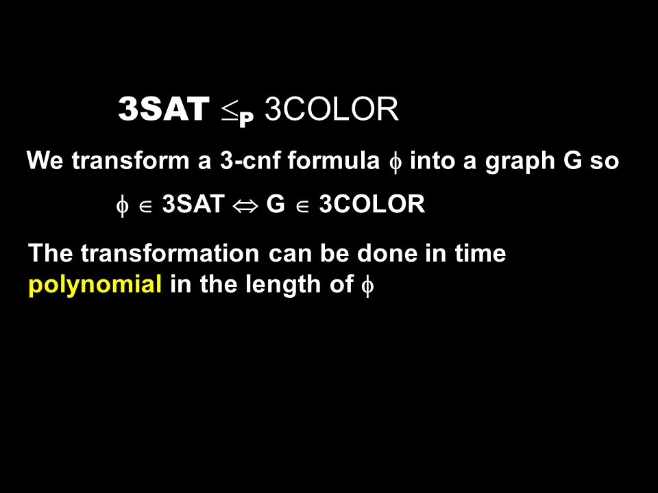 3SAT P 3COLOR We transform a 3-cnf formula  into a graph G so
