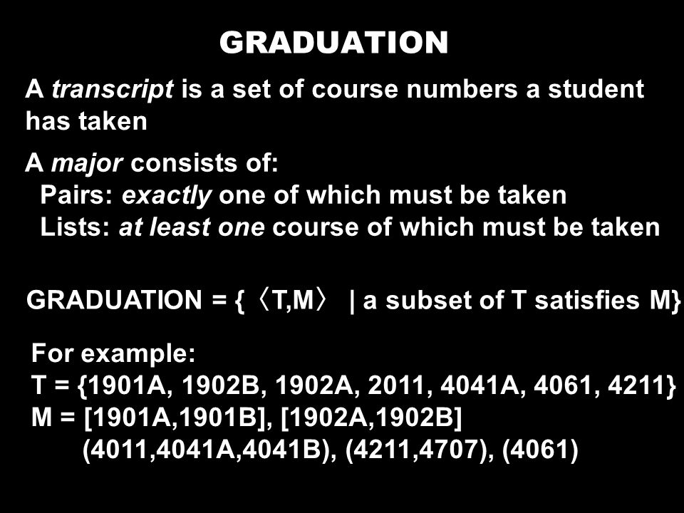 GRADUATION A transcript is a set of course numbers a student has taken
