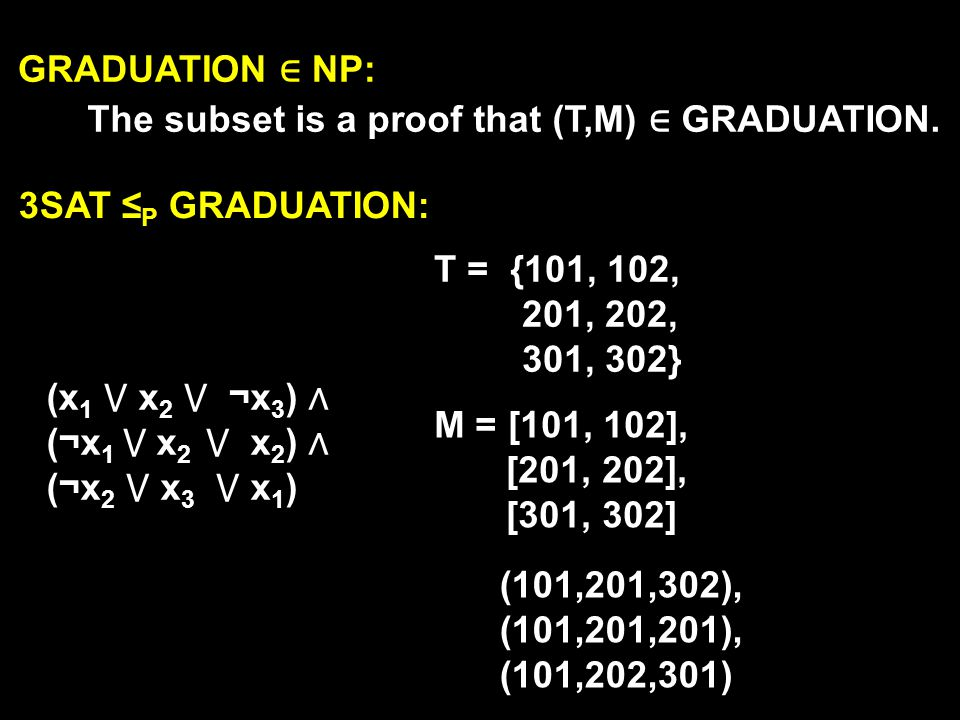 GRADUATION ∈ NP: The subset is a proof that (T,M) ∈ GRADUATION. 3SAT ≤P GRADUATION: T = {101, 102,