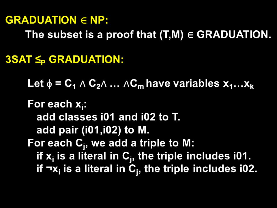 GRADUATION ∈ NP: The subset is a proof that (T,M) ∈ GRADUATION. 3SAT ≤P GRADUATION: Let  = C1 ∧ C2∧ … ∧Cm have variables x1…xk.