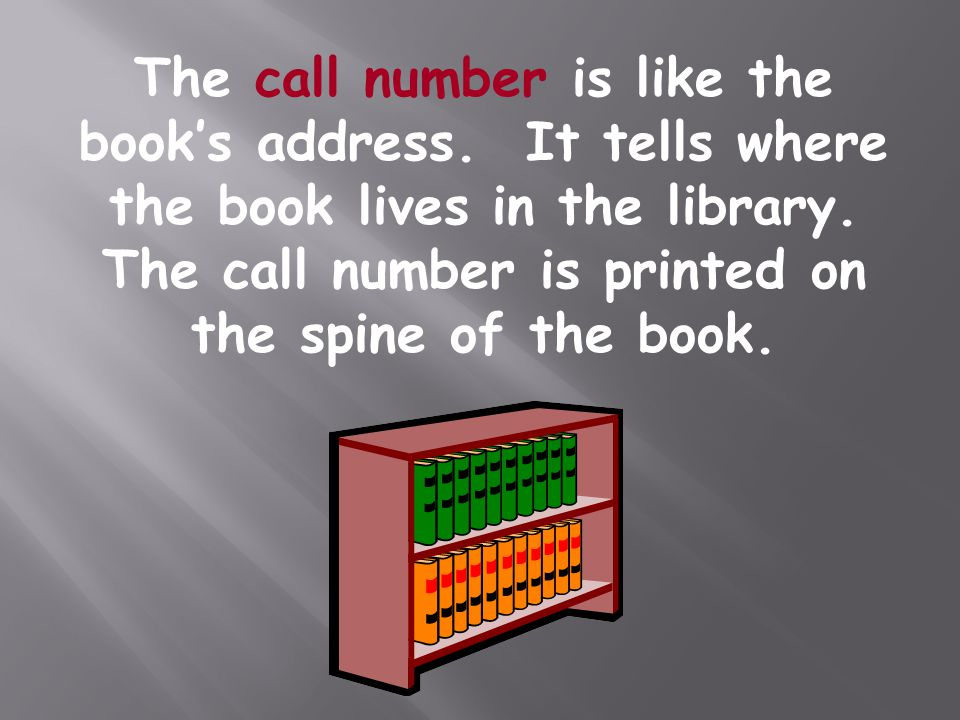 The call number is like the book's address