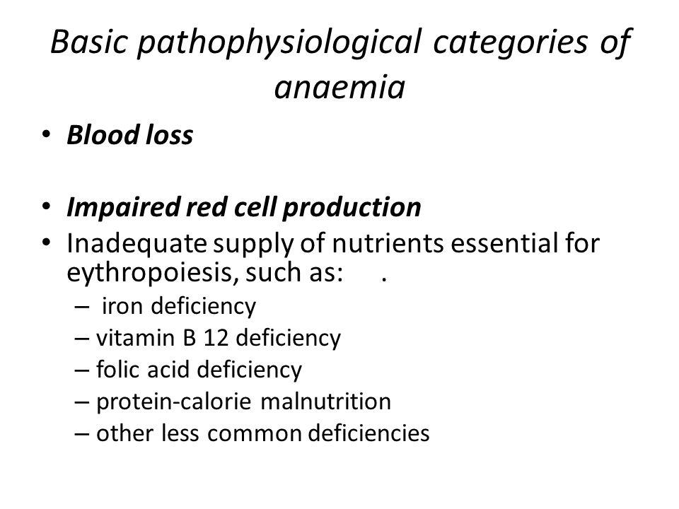 Basic pathophysiological categories of anaemia