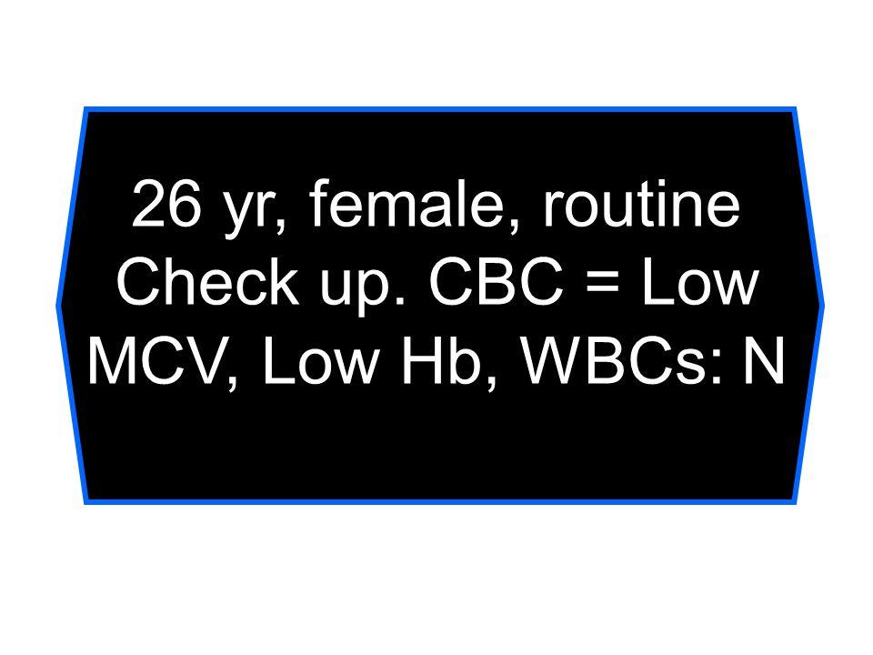 Check up. CBC = Low MCV, Low Hb, WBCs: N