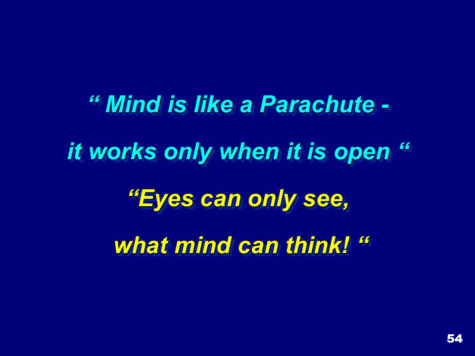 Mind is like a Parachute - it works only when it is open