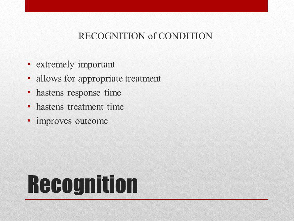 RECOGNITION of CONDITION