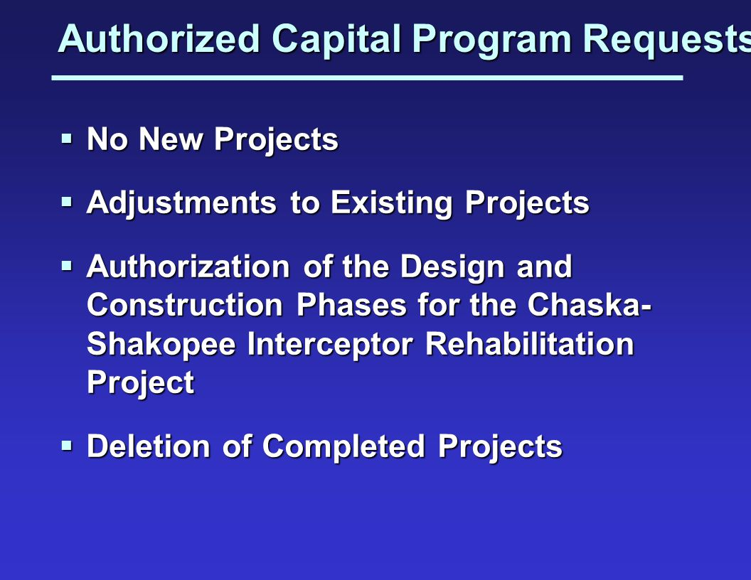 Authorized Capital Program Requests