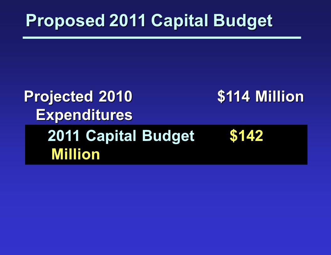 Proposed 2011 Capital Budget