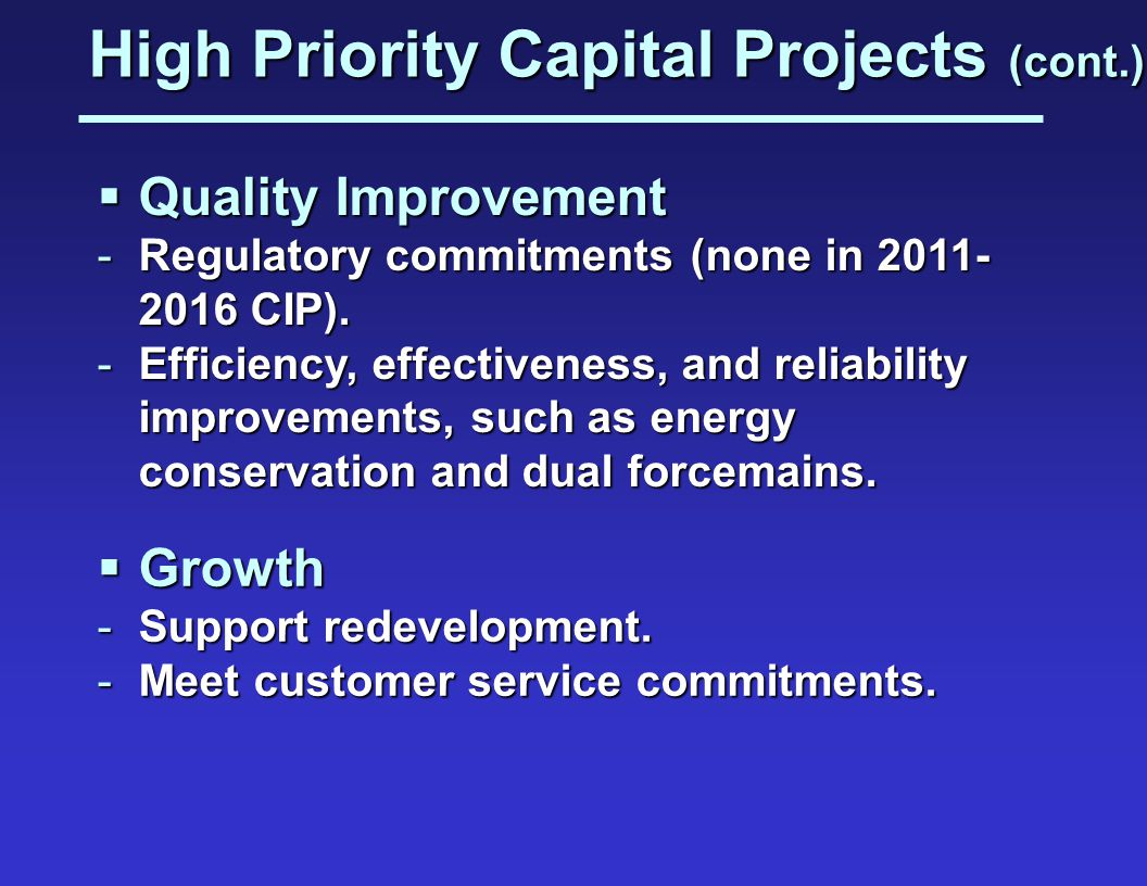 High Priority Capital Projects (cont.)