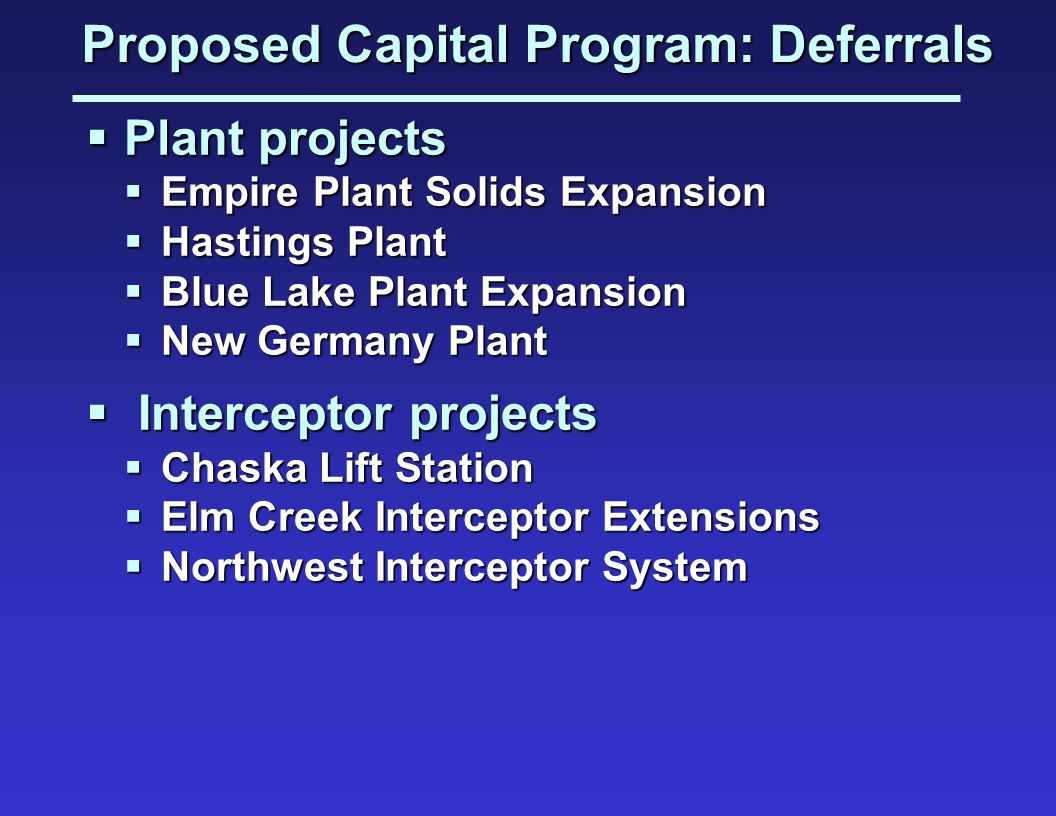 Proposed Capital Program: Deferrals