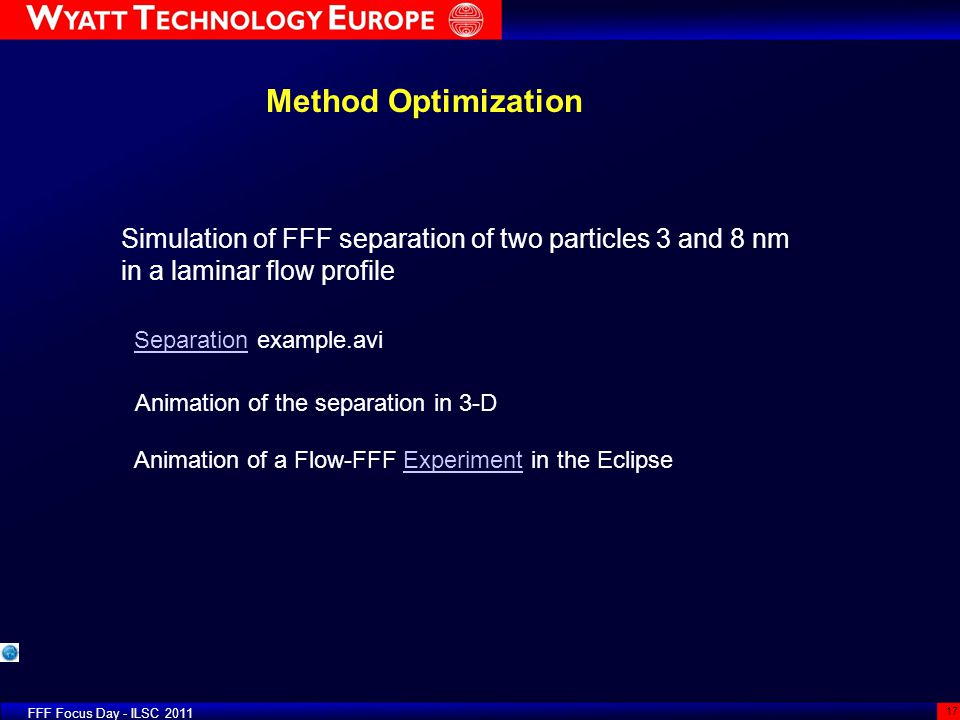 Method Optimization Simulation of FFF separation of two particles 3 and 8 nm in a laminar flow profile.
