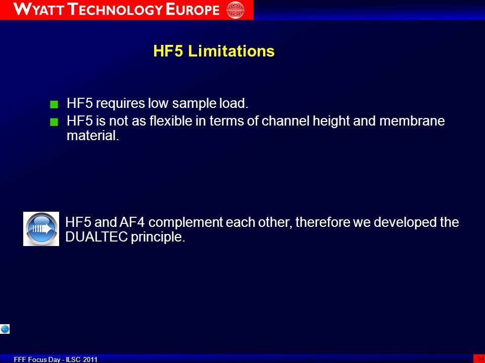 HF5 Limitations HF5 requires low sample load.