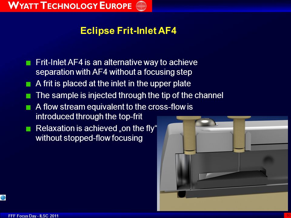 Eclipse Frit-Inlet AF4 Frit-Inlet AF4 is an alternative way to achieve separation with AF4 without a focusing step.