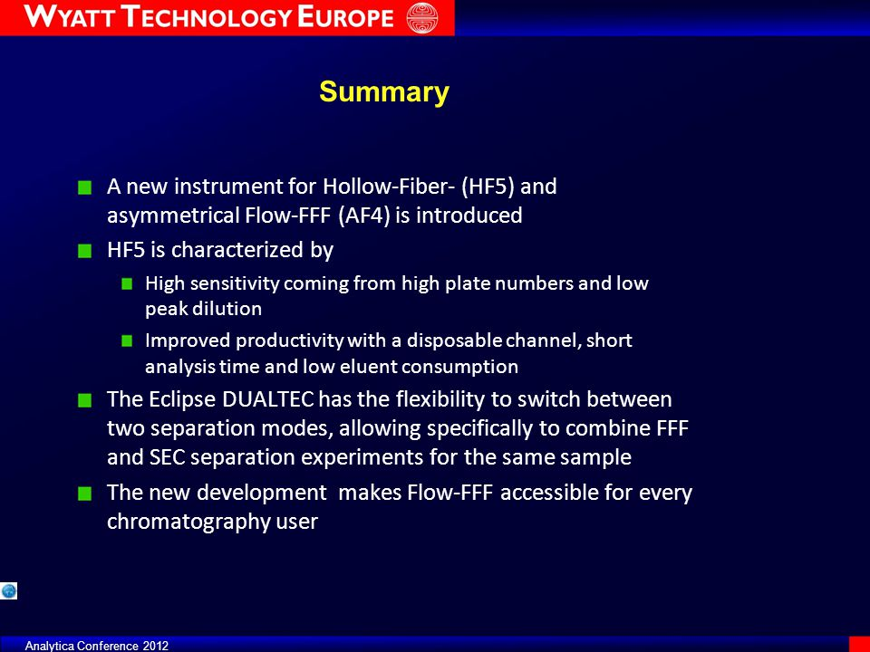 Summary A new instrument for Hollow-Fiber- (HF5) and asymmetrical Flow-FFF (AF4) is introduced. HF5 is characterized by.