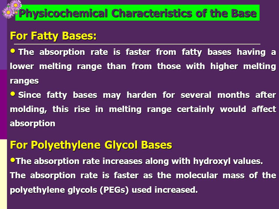 Physicochemical Characteristics of the Base