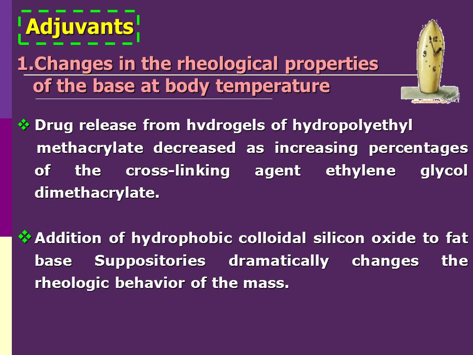 Adjuvants Changes in the rheological properties