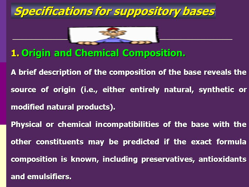 Specifications for suppository bases