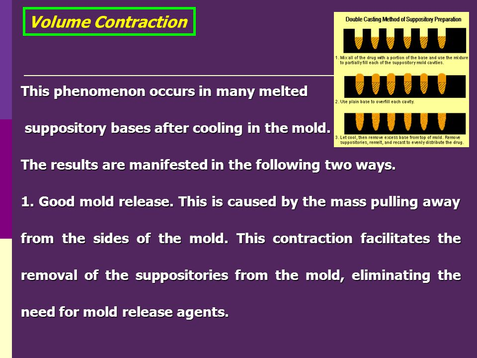 Volume Contraction This phenomenon occurs in many melted