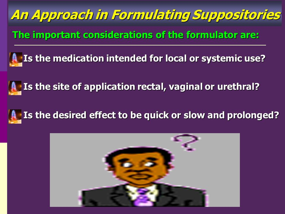 An Approach in Formulating Suppositories