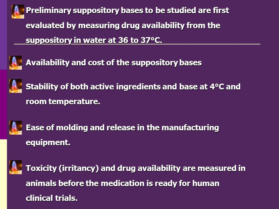 Preliminary suppository bases to be studied are first