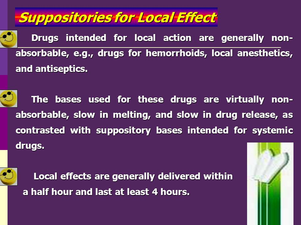 Suppositories for Local Effect