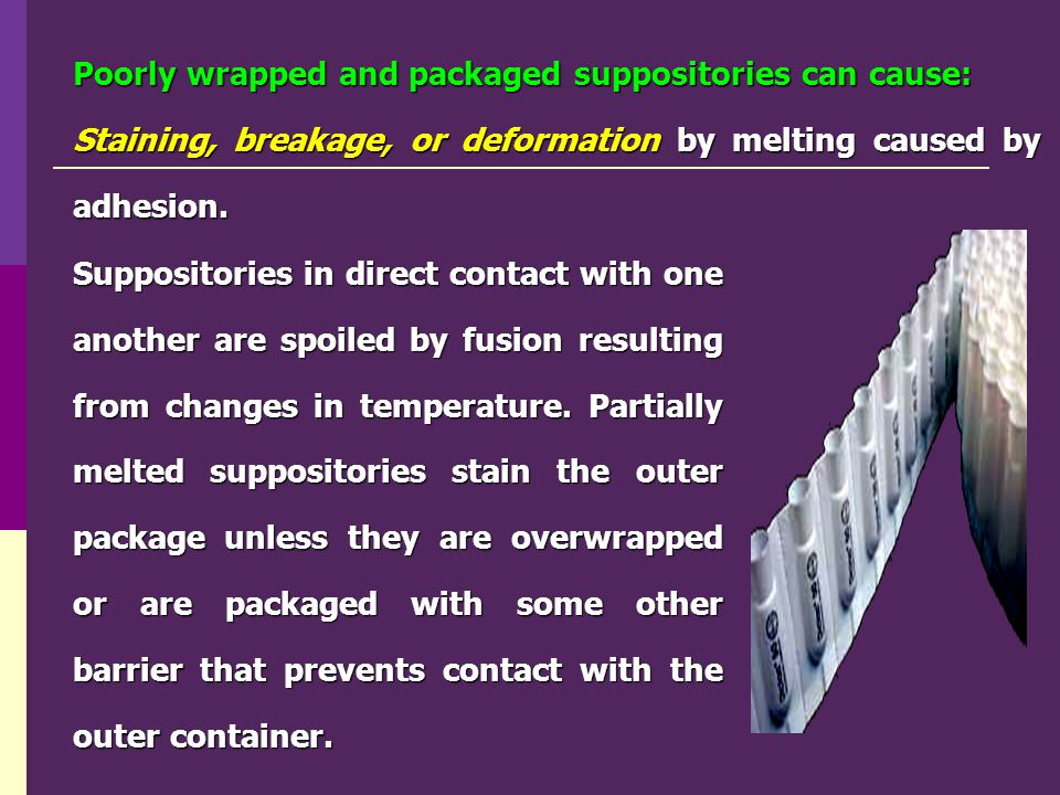 Poorly wrapped and packaged suppositories can cause: