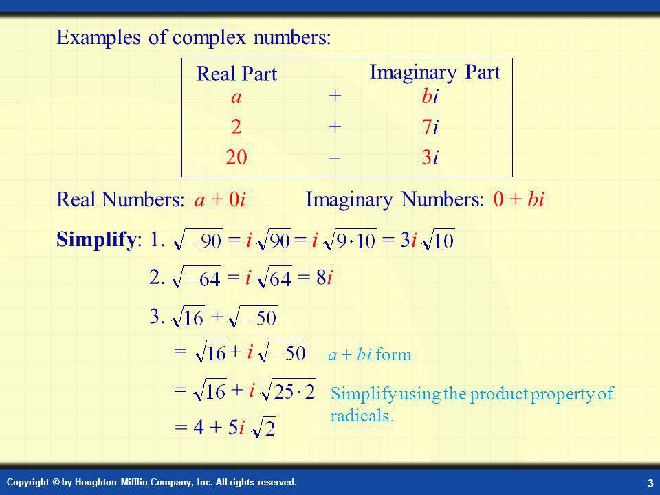 Examples of Complex Numbers