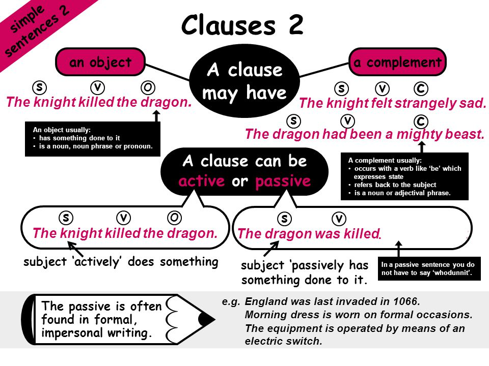 Clauses 2 A clause may have c c A clause can be active or passive
