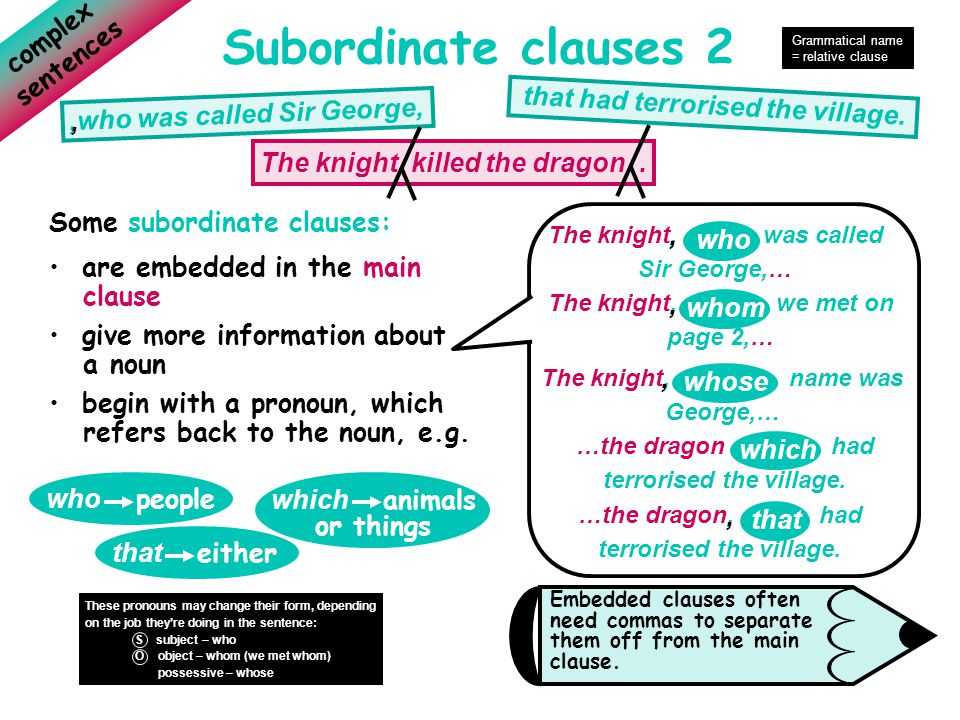 Subordinate clauses 2 complex sentences