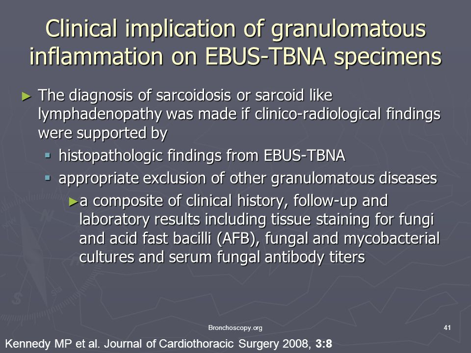 Clinical implication of granulomatous inflammation on EBUS-TBNA specimens