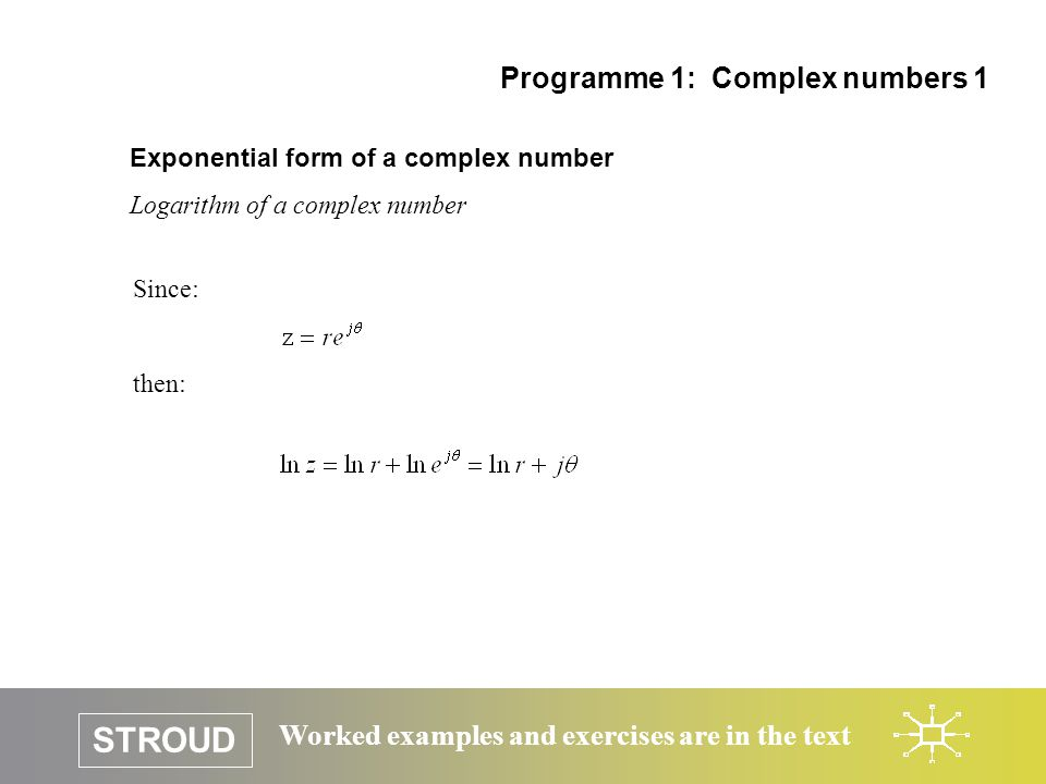 Programme 1: Complex numbers 1