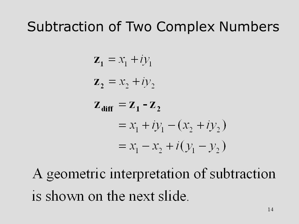 Subtraction of Two Complex Numbers