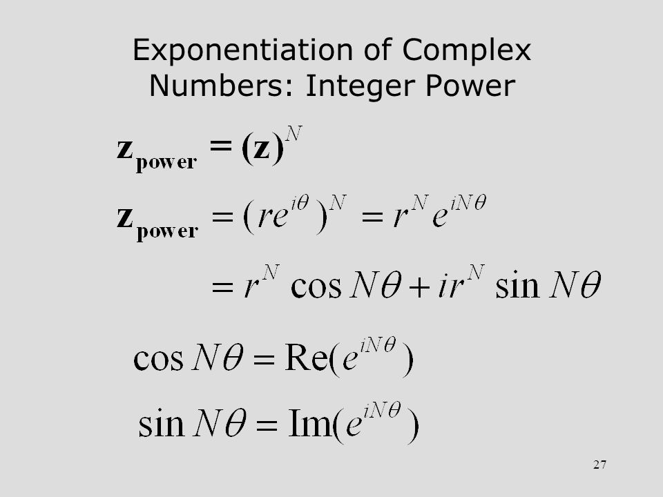 Exponentiation of Complex Numbers: Integer Power