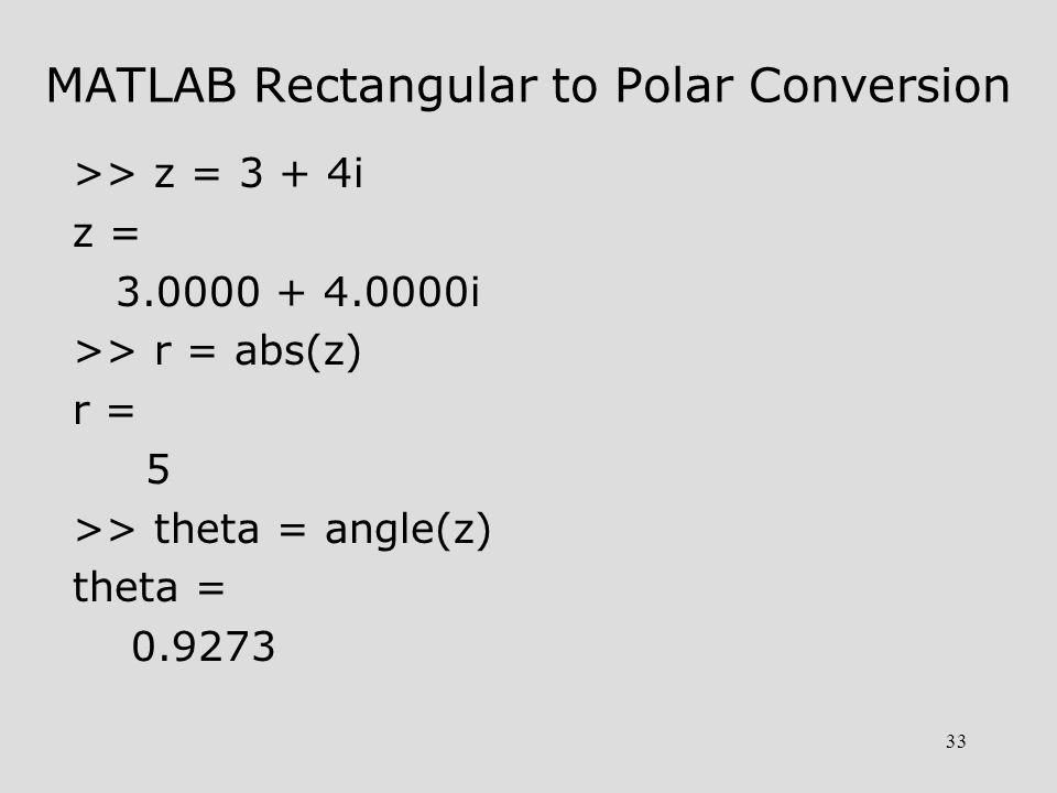 MATLAB Rectangular to Polar Conversion