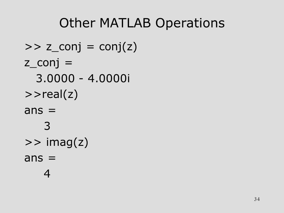 Other MATLAB Operations