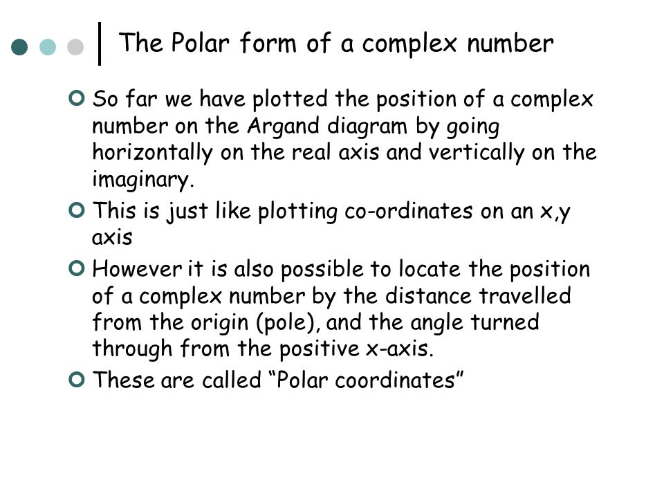 The Polar form of a complex number