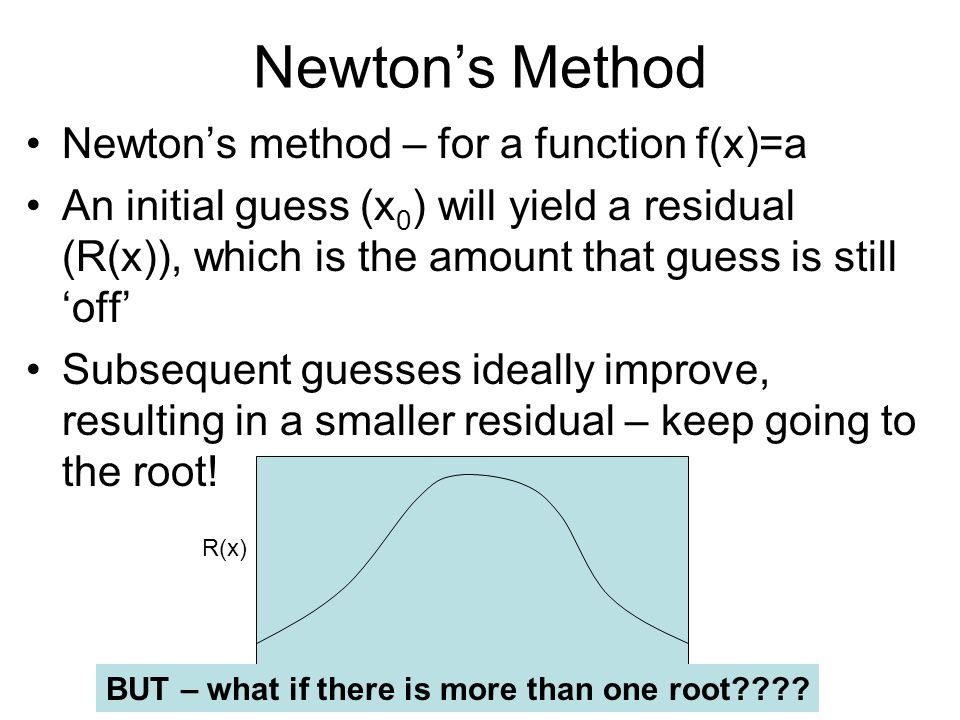 Newton's Method Newton's method – for a function f(x)=a