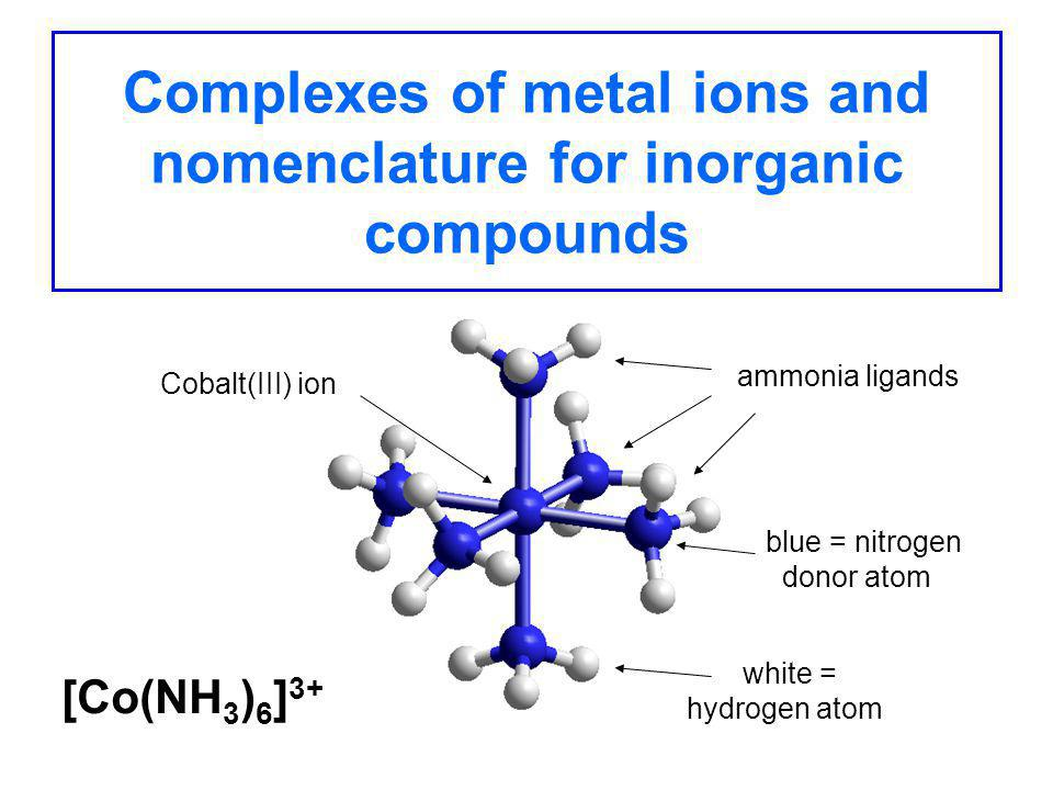coordination complexes of cobalt advanced inorganic Described is an experiment involving the synthesis and spectral studies of cobalt complexes that not only give general chemistry students an introduction to inorganic.