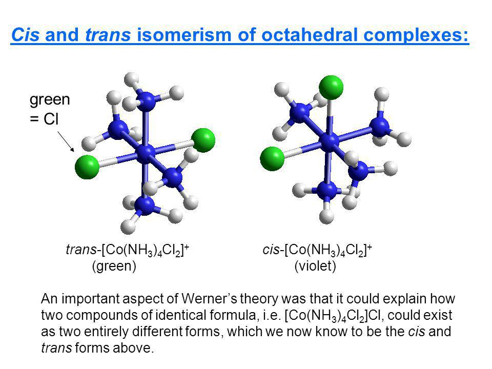 Cis and trans isomerism of octahedral complexes:
