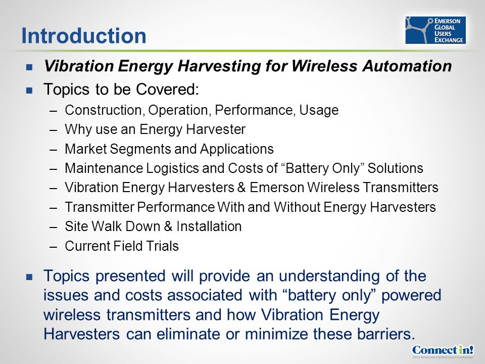 Introduction Vibration Energy Harvesting for Wireless Automation