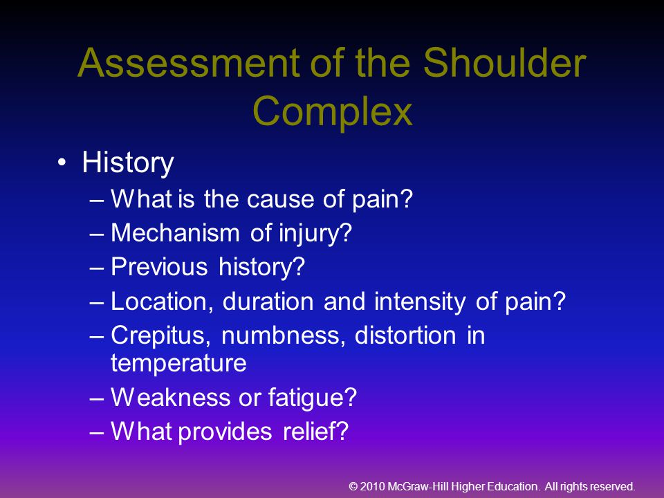 Assessment of the Shoulder Complex